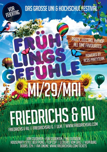 FRÜHLINGSGEFÜHLE: Das große Uni & Hochschul Festival vor dem Feiertag! am Mittwoch, den 29.05.19 um 22:00 Uhr, Friedrichs & Au, Friedrichsau 6, Ulm